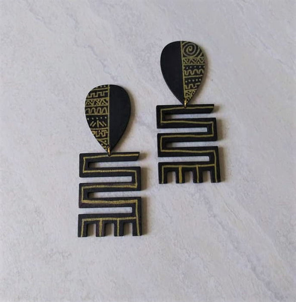 Zaina Black Gold Tribal Print Stud Earrings