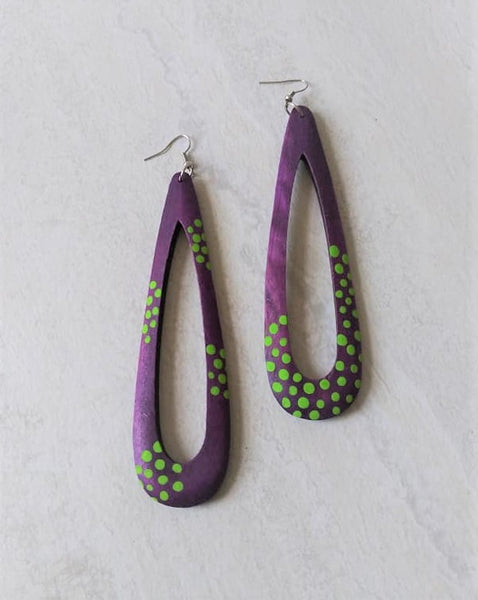 Willa Purple Wood Polka Dot Drop Earrings