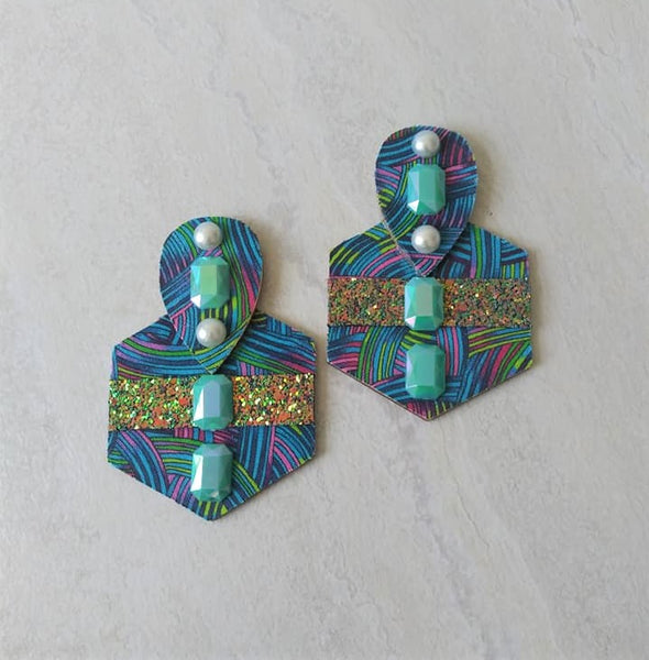 Rayna Tribal Wood Stud Earrings