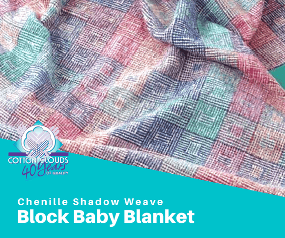 Chenille Shadow Weave Block Baby Blanket