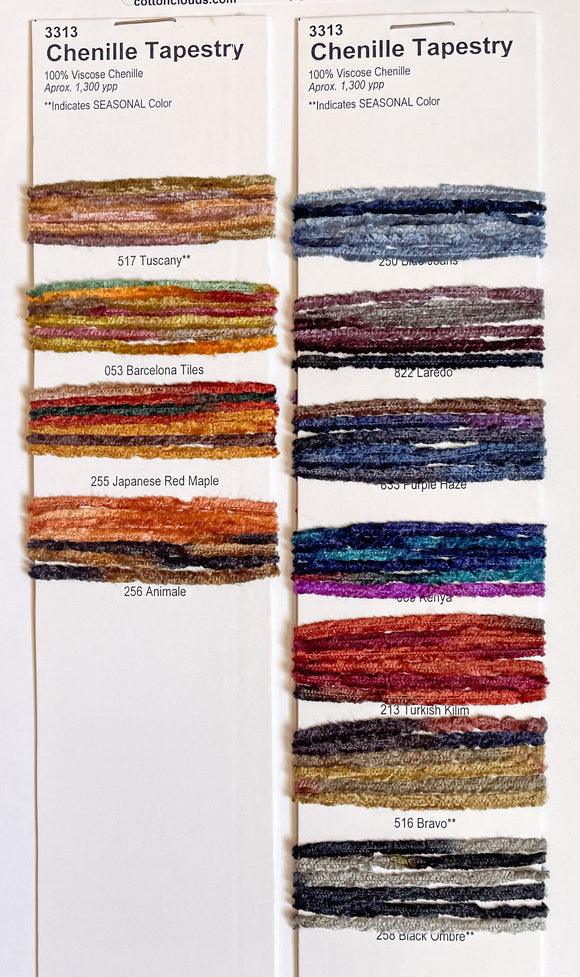 Gypsy Chenille Variegated Color Card