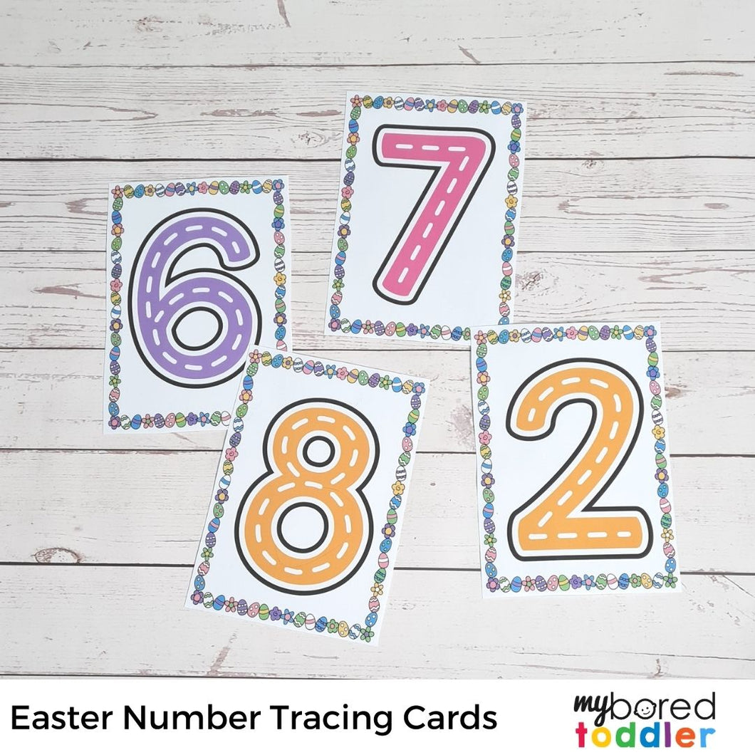 Easter Tracing Cards - Numbers and Alphabet (lowercase & uppercase)