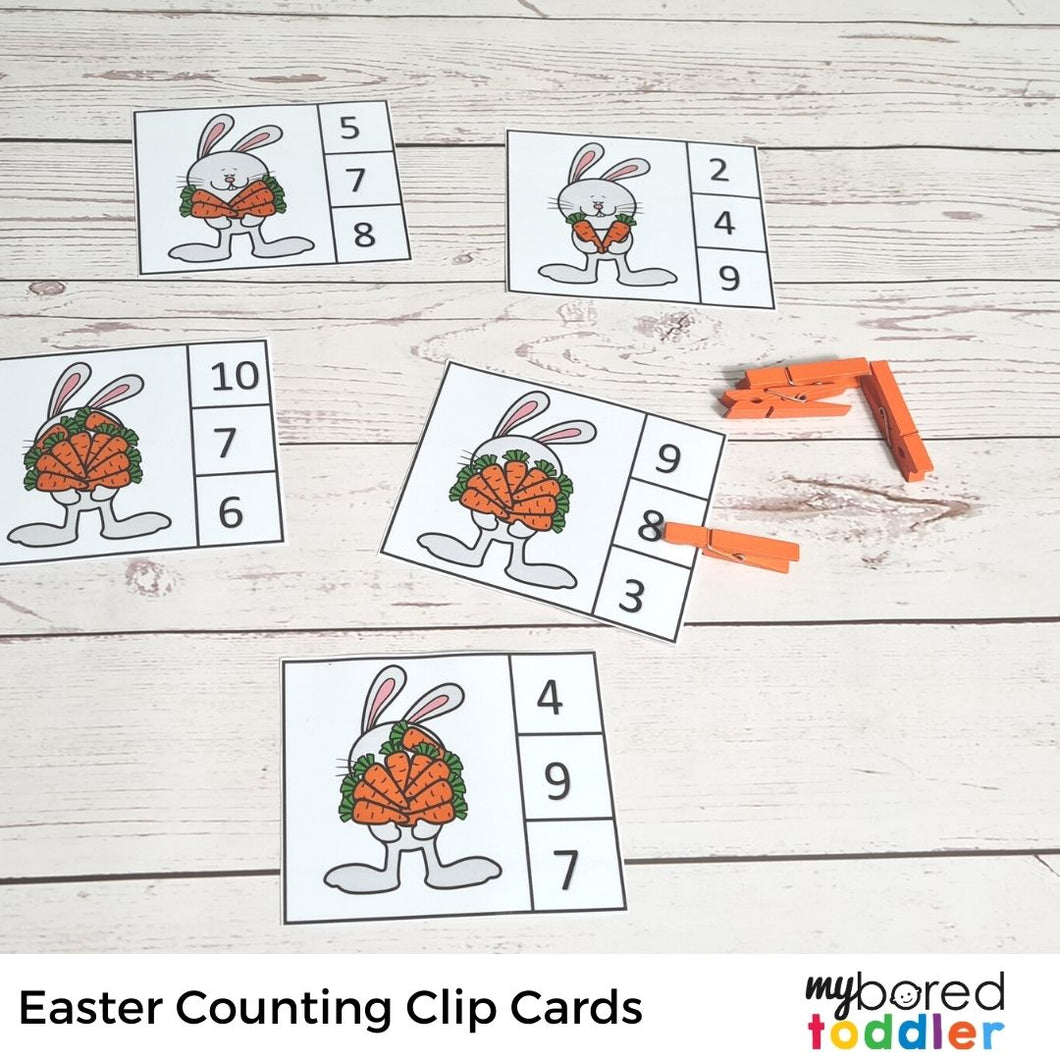 Easter Bunny Counting Clip Cards (zero to ten)