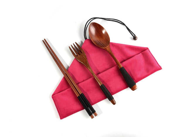 4PCS Japanese Wooden Spoon Chopsticks Tableware Set