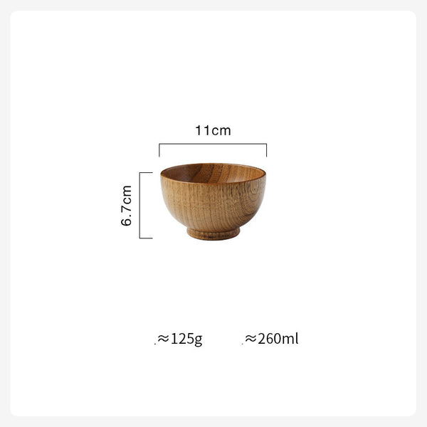 Wooden Bowl Japanese Style Wood Rice Soup Bowl Salad Bowl Food Container Large Small Bowl for Kids Tableware Wooden Utensils