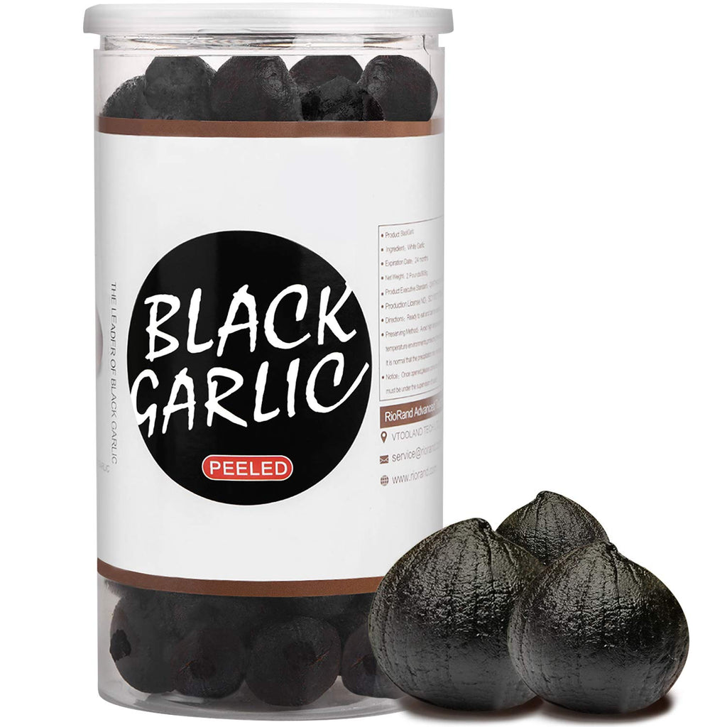 RioRand Black Garlic 320g Whole Black Garlic Aged for Full 90 Days Black Garlic Jar 0.7 Pounds