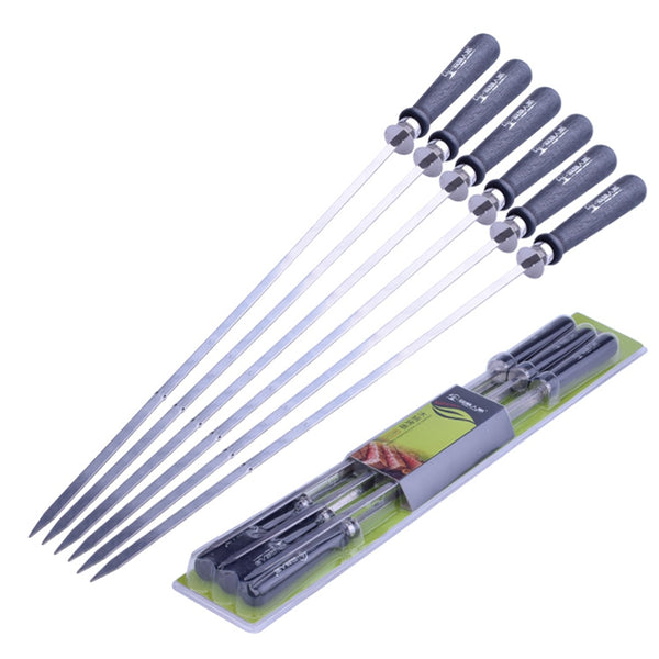 6pcs Stainless Steel BBQ Skewers Barbecue Skewer Grilling Kabob Reusable Skewers BBQ Shish Kabob Tools for Hot Dog Meats Fish