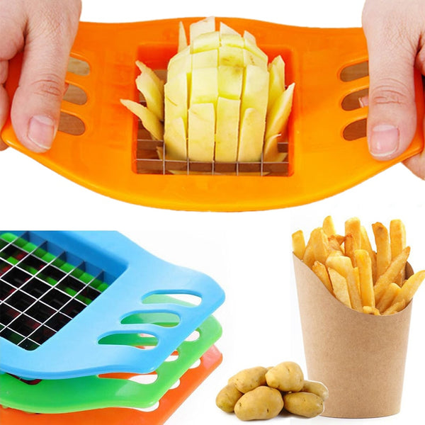 French Fry Potato Chip Cutter Stainless Steel Vegetable Fruit Chopper Chips Easy Cut Kitchen Tools Gadgets Accessories