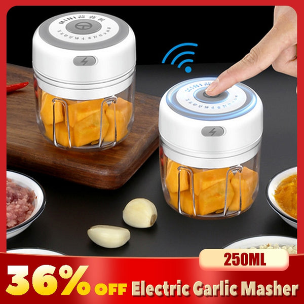 Electric Garlic Masher Sturdy Durable Mini Crusher Chopper USB Charging For Crushed Garlic Crushed Ginger Crushed Fresh Chili