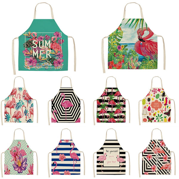 Flamingo Apron Summer plants printed Kitchen Aprons Adult Kids Cotton Linen Bibs Home Cooking bbq Apron Cleaning Accessory 65x53