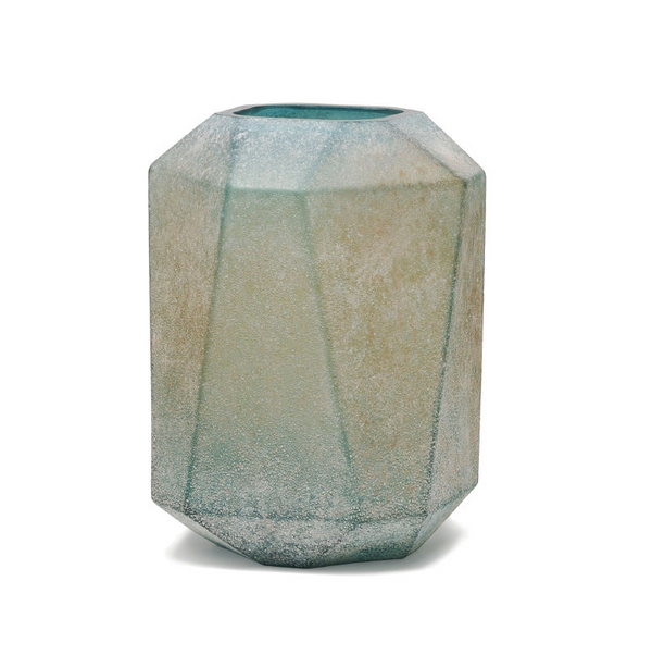 Dough blue geomatric glass vase high S 675424