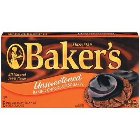 Baker's Unsweetened Baking Chocolate Squares