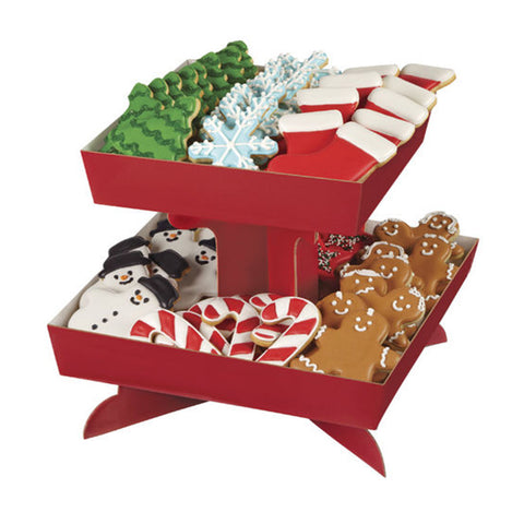 wilton RED TREAT STAND TRAY