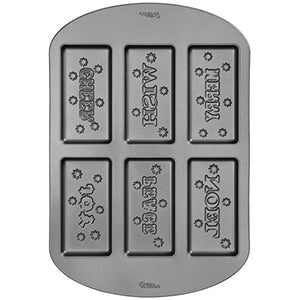 wilton 6-CAVITY HOLIDAY WORDS COOKIE PAN