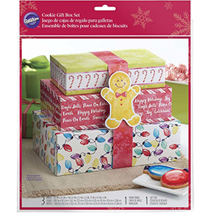 wilton 3-PIECE STACKING CHRISTMAS TREAT BOX SET
