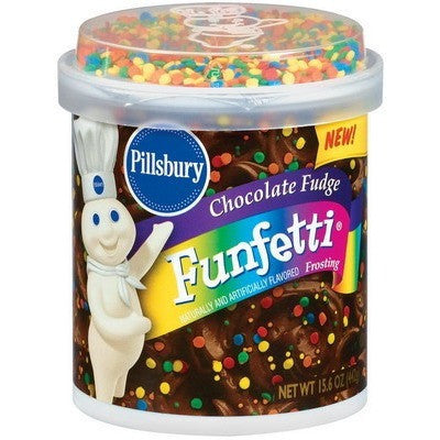 Pillsbury Frosting Funfetti Choco Fudge (Confetti not mixed)