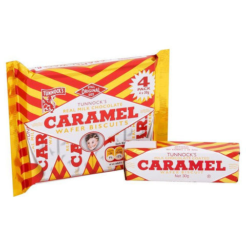 Tunnocks Choc Caramel Wafers 4 x 30gr