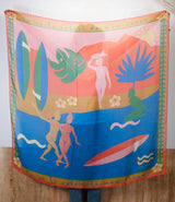 Large Multicolored Surf cotton scarf by Soie Even.