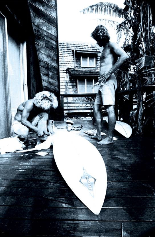 From the Vault: Rocky Point, November 1971 Jack Reeves (Hawaii's premier glasser) checking TF's repair work. No leggies at Rocky meant repairs and a new fin before shooting a session for 'Morning of the Earth'. Photo Albe Falzon See 'Sultans of Speed' on The Surf Video Network