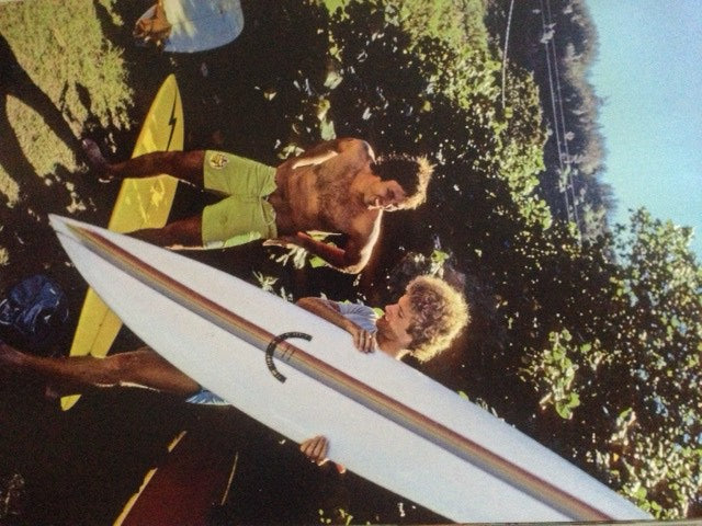 1975: The Duke Contest at Sunset Beach, Barry Kanaiapuni suiting up and  TF with his brand new Sunset Gun. BK 's surfing at Sunset set the bench-mark for generations to follow.