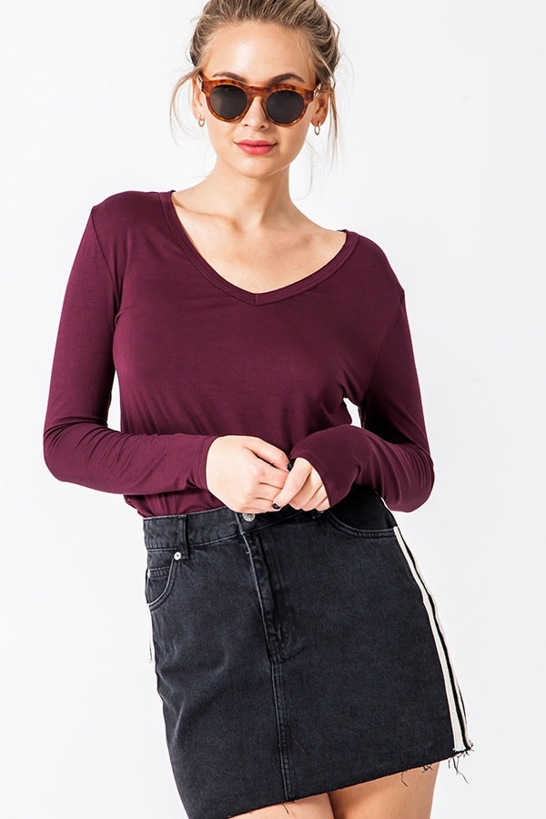 Finley V-Neck Long Sleeve Top - Wine
