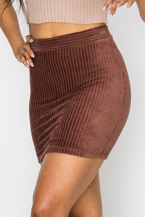 Fawn Fitted Corduroy Mini Skirt - Burgundy