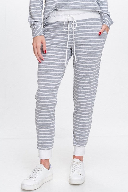 Aubrey Knit Joggers with Pockets - Heather with White Stripe
