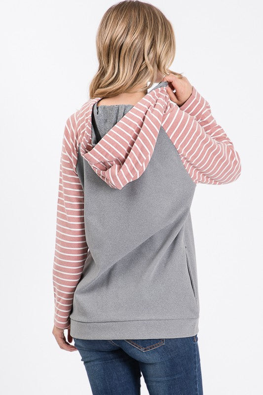 Peach Skin Twin Hood Pocket Sweater - Grey/Rose Stripe