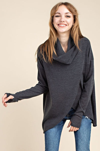 ad573449a5906 Aubrey Cowl Neck Surplice Sweater - Charcoal ...