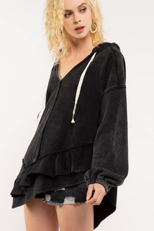Asymmetrical Raw Hem French Terry Hoodie - Black