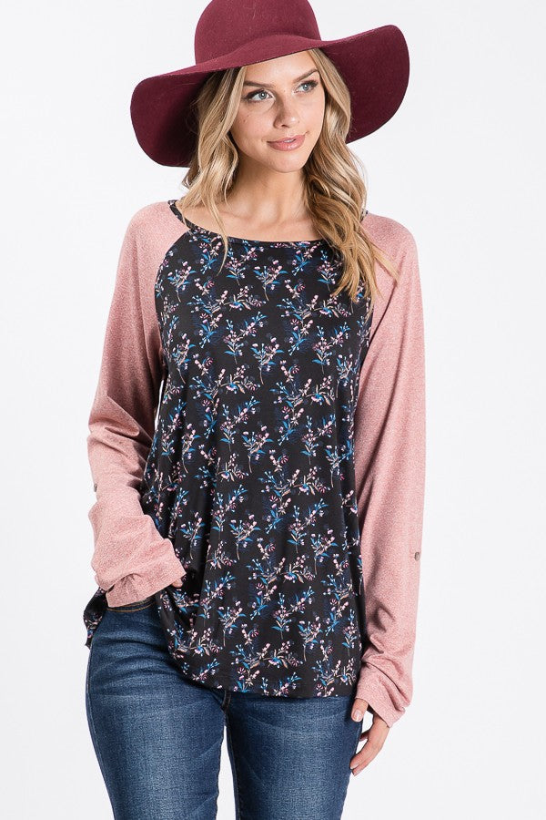 Lightweight Baseball Long Sleeve Top - Mauve/Navy Floral