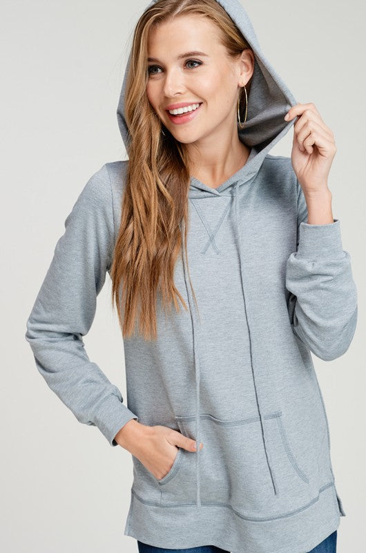 Zoe Soft Knit Hooded Kangaroo Sweater - Heather Grey