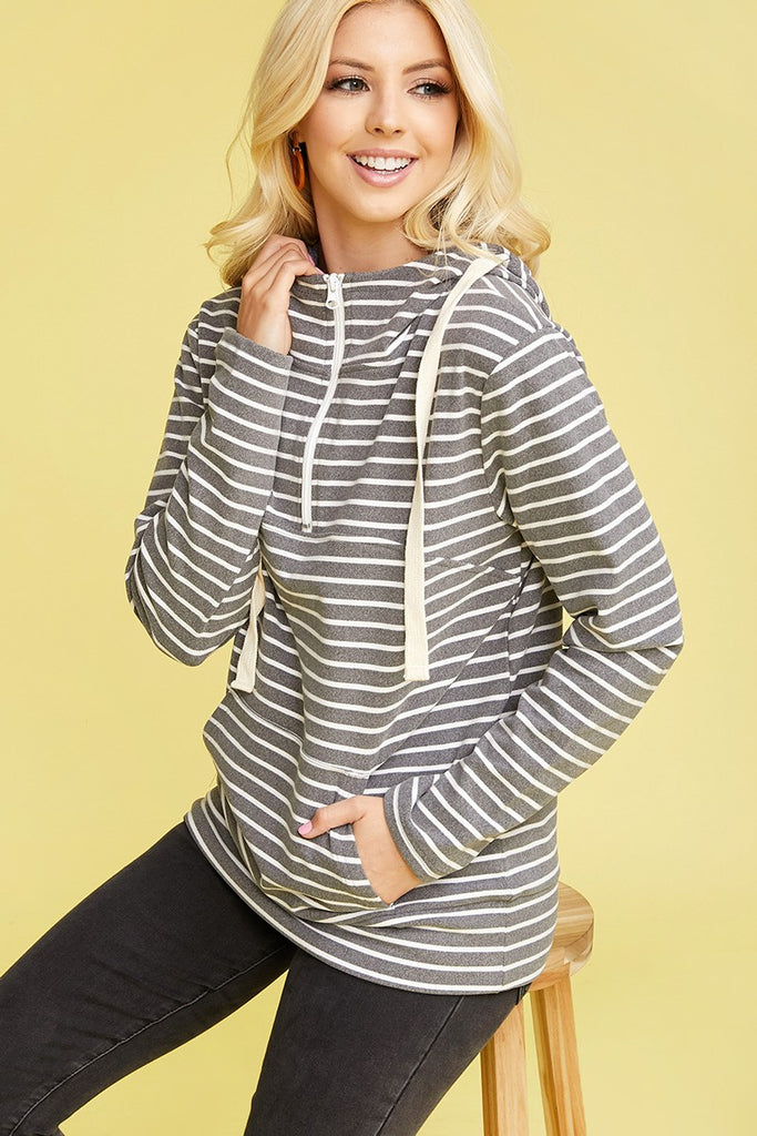 Peach Skin 1/4 Zip Kangaroo Pocket Sweater - Grey Stripe