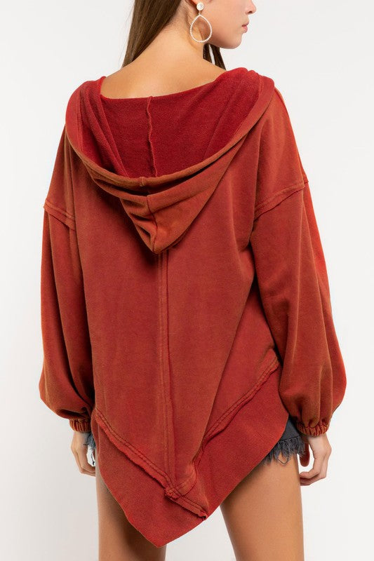 Asymmetrical Raw Hem French Terry Hoodie - Poppy