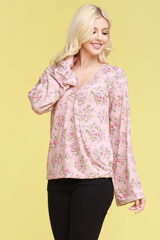 Lightweight Crossover Long Sleeve Top - Pink Floral