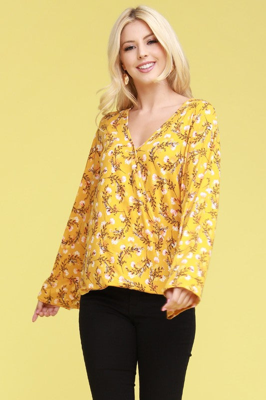 Lightweight Crossover Long Sleeve Top - Mustard Floral