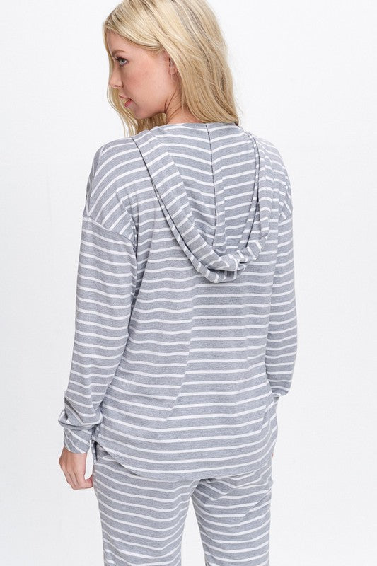 Aubrey Knit V-Neck Hoodie - Heather with White Stripe