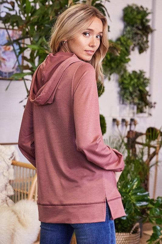 Zoe Soft Knit Hooded Kangaroo Sweater - Mauve