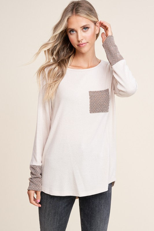 Contrast Pocket & Cuff Soft Long Sleeve Top - Cream