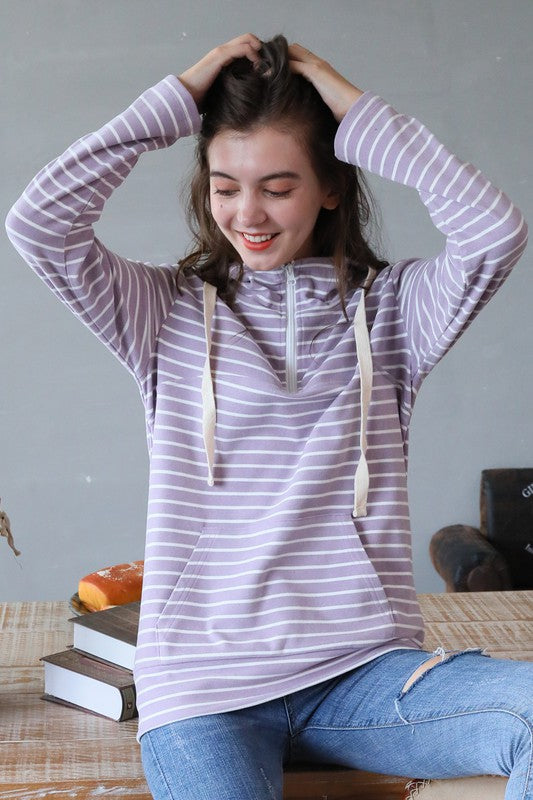 Peach Skin 1/4 Zip Kangaroo Pocket Sweater - Purple Stripe