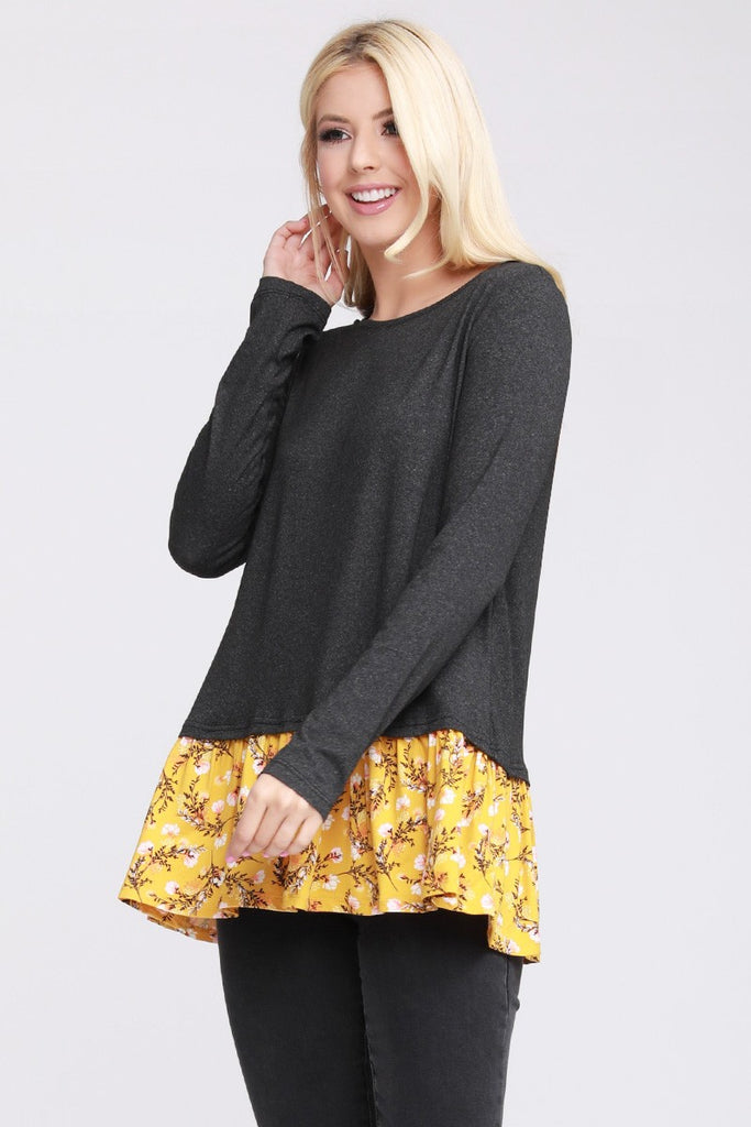 Lightweight Ruffle Hem Long Sleeve Top - Charcoal/Mustard Floral