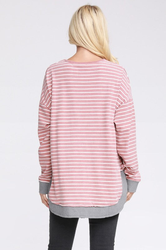 Peach Skin Relaxed Fit Kangaroo Pocket Sweater - Rose Stripe