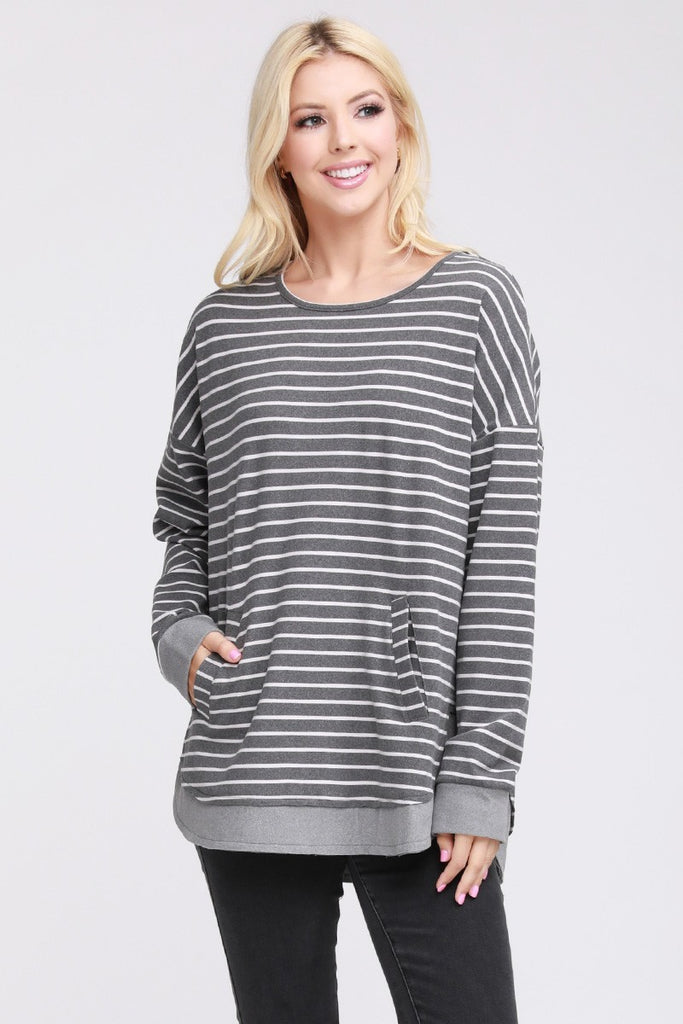 Peach Skin Relaxed Fit Kangaroo Pocket Sweater - Grey Stripe