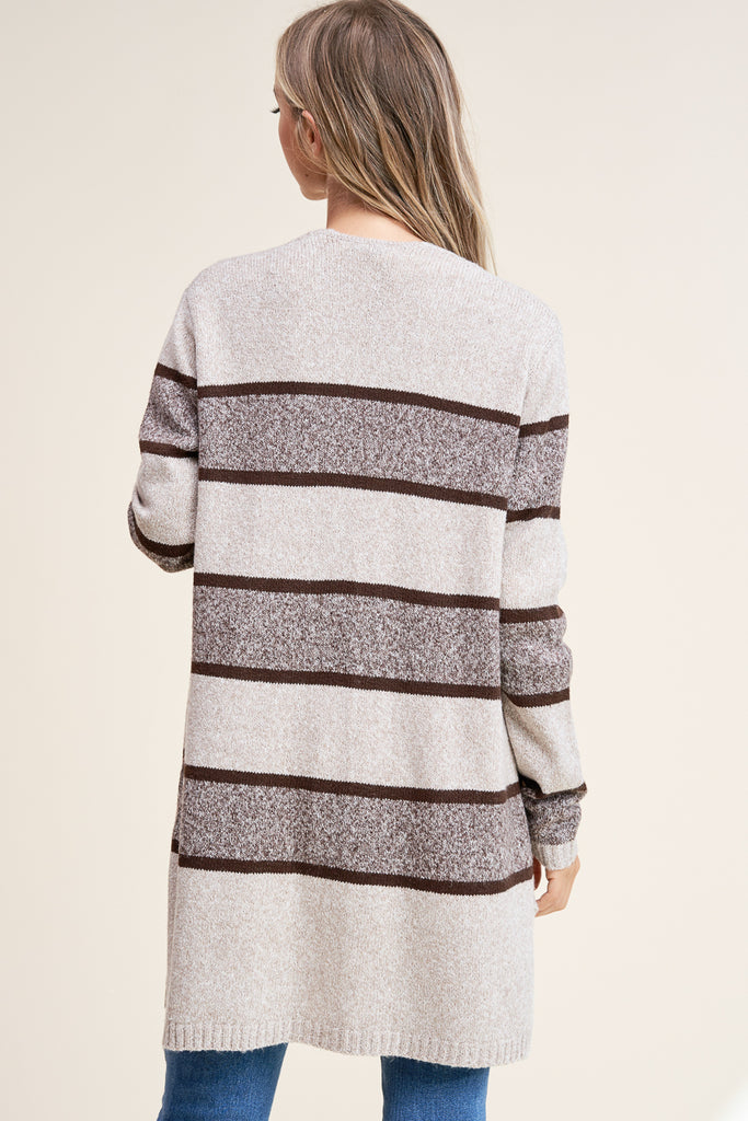 Charlie Colour Block Open Pocket Cardigan - Taupe/Brown