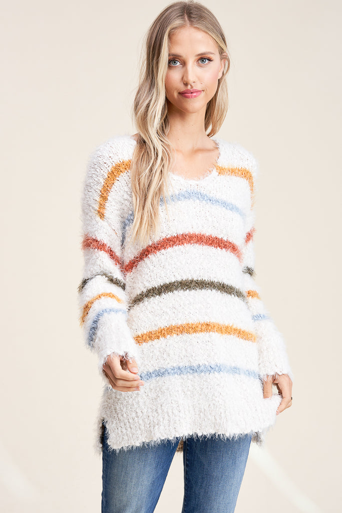 Hudson Faux-Mohair V-Neck Sweater - Ivory w/ Stripe