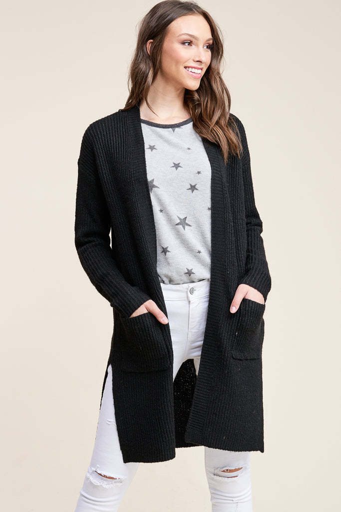 Evie Side Slit Duster Cardigan - Black