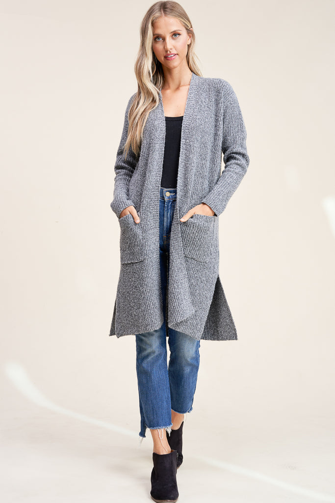 Evie Side Slit Duster Cardigan - Charcoal