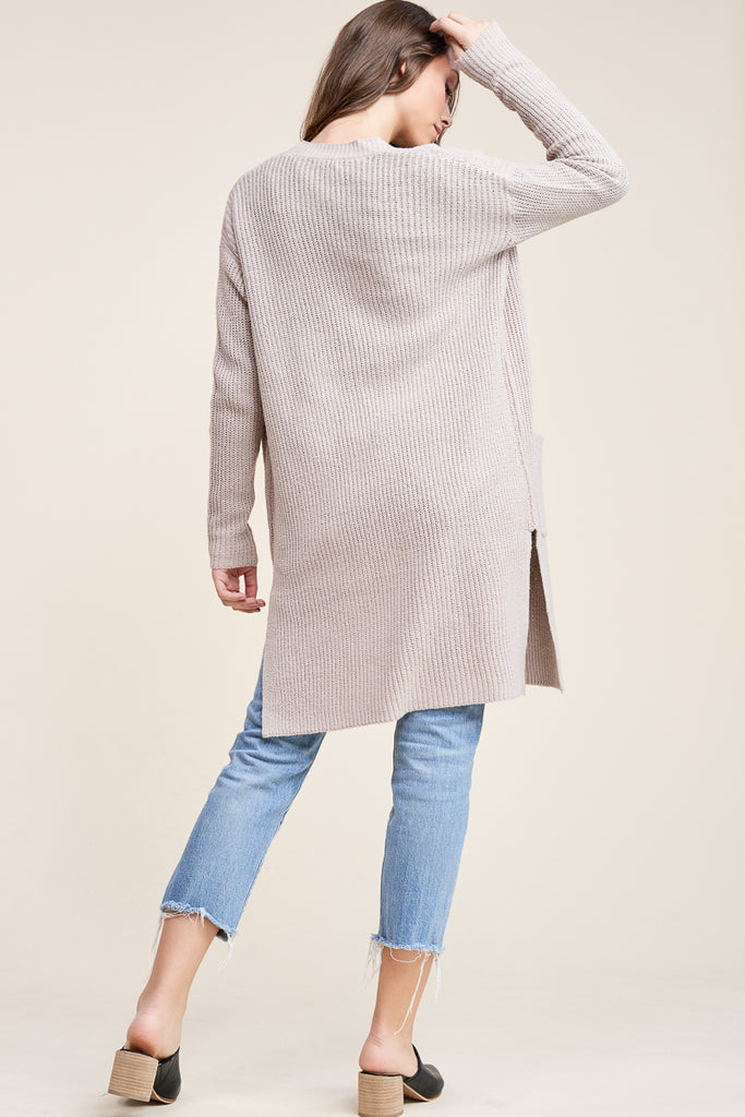 Evie Side Slit Duster Cardigan - Taupe