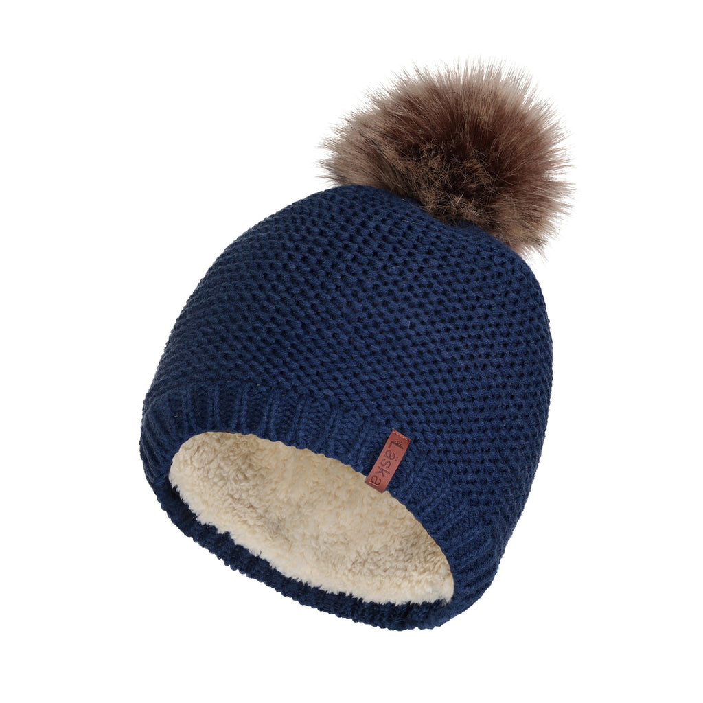 Classic Knit Lined Pom Toque - Navy