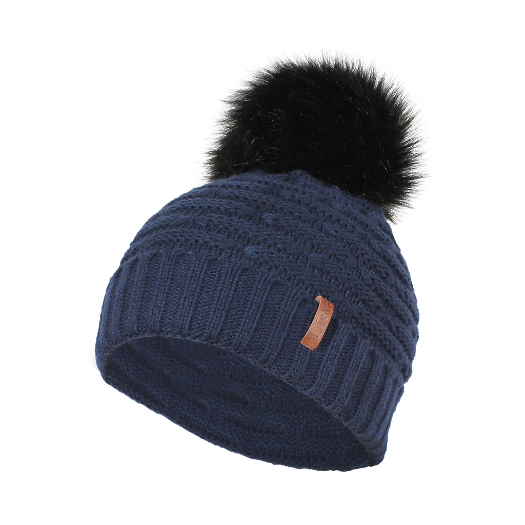 Wave Knit Lined Pom Toque - Navy